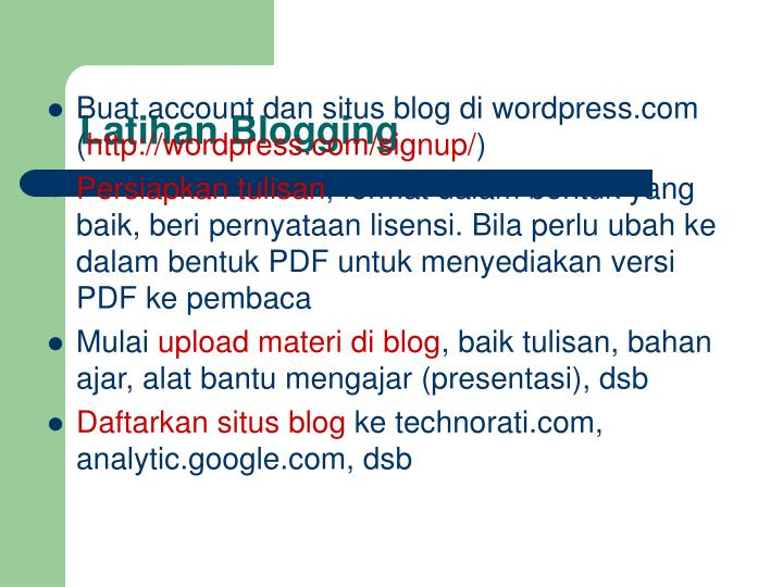 Latihan Blogging