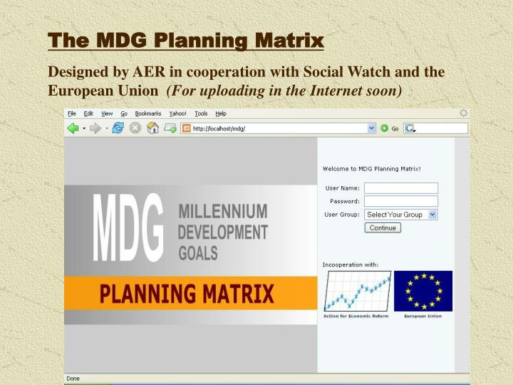 The MDG Planning Matrix