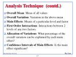 analysis technique contd