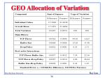 geo allocation of variation