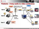 features 3 way audio to video conference