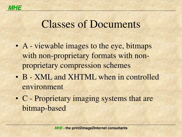 Classes of Documents