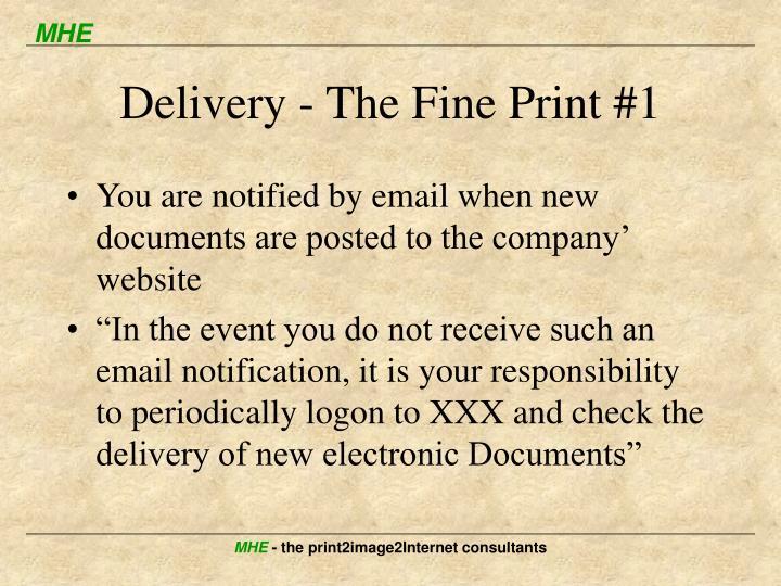 Delivery - The Fine Print #1