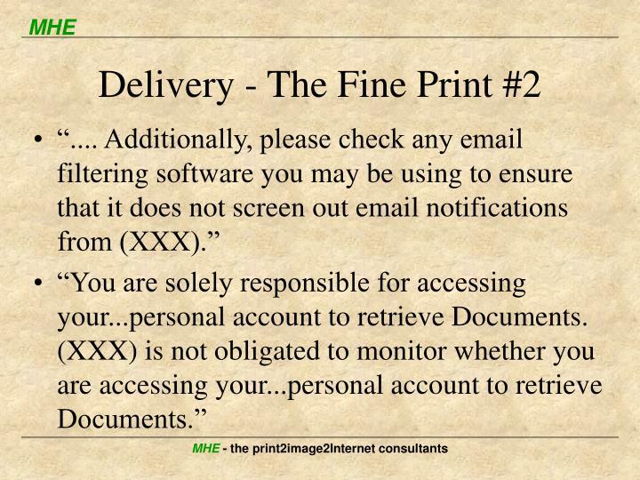 Delivery - The Fine Print #2
