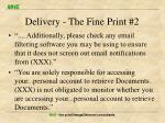delivery the fine print 2