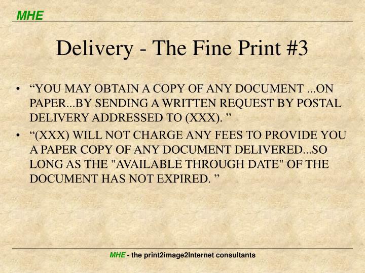 Delivery - The Fine Print #3