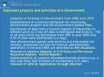 important projects and activities of e government