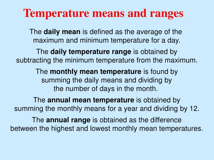 Temperature means and ranges