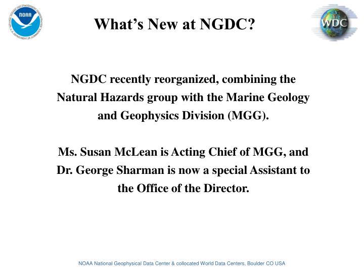 What's New at NGDC?