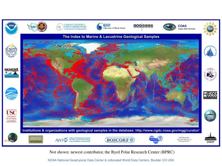 Not shown: newest contributor, the Byrd Polar Research Center (BPRC)
