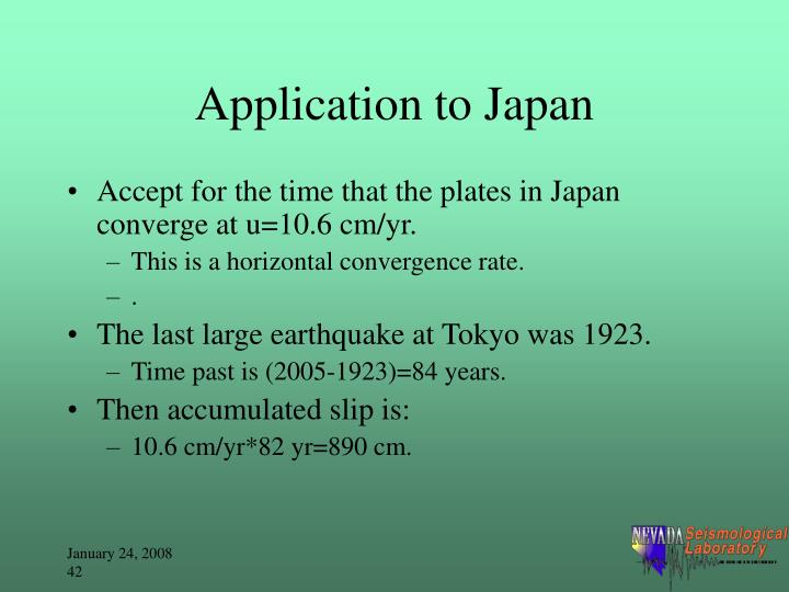 Application to Japan