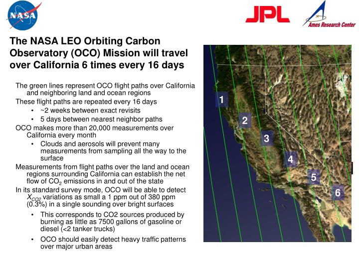 The NASA LEO Orbiting Carbon Observatory (OCO) Mission will travel over California 6 times every 16 days