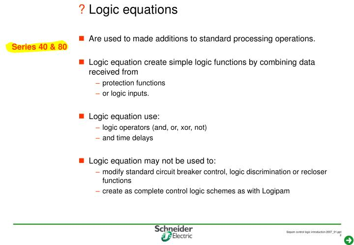 Logic equations