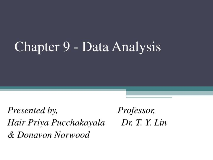 Chapter 9 - Data Analysis