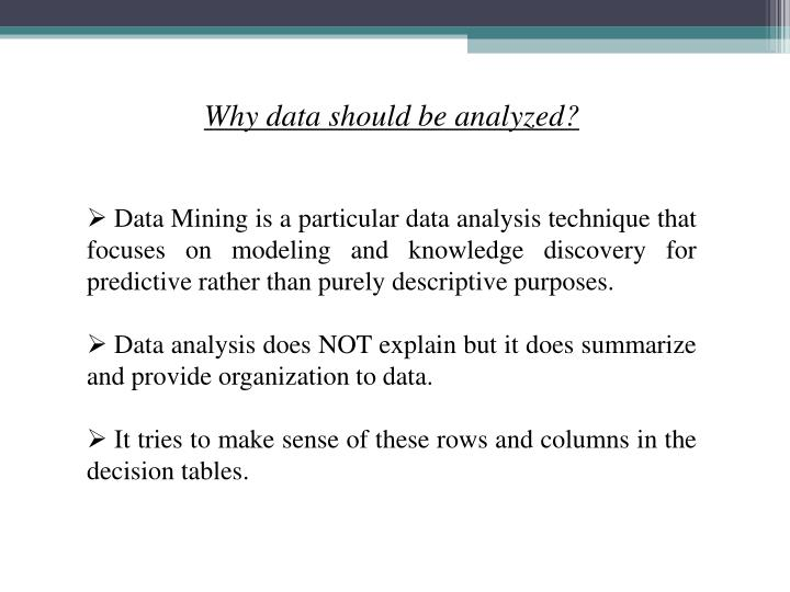 Why data should be analyzed?