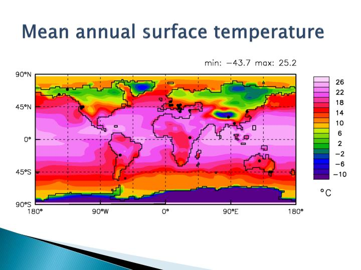 Mean annual surface temperature