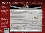 high j c internal sn twisted 0 5 bend strain