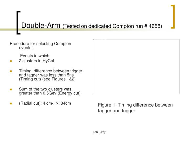 Double arm tested on dedicated compton run 4658