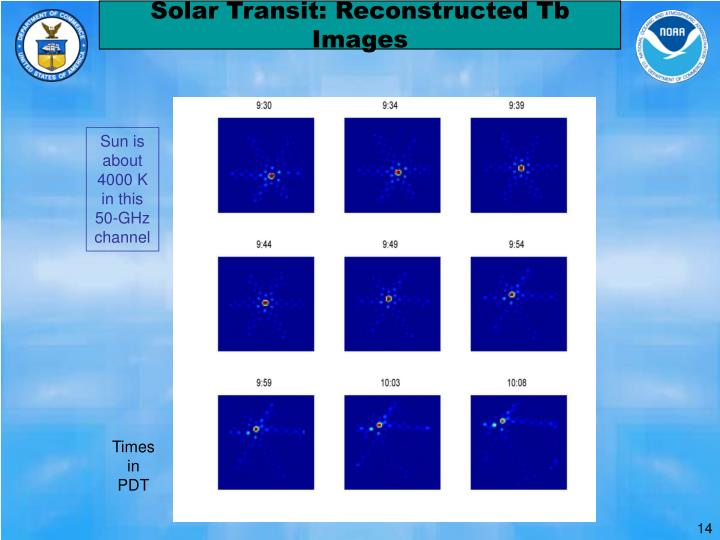 Solar Transit: Reconstructed Tb Images