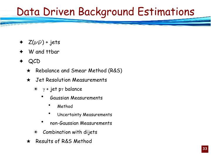 Data Driven Background Estimations
