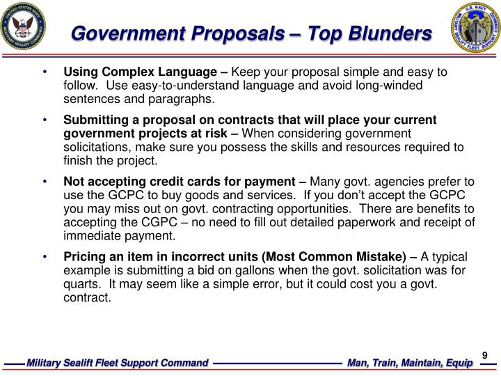 Government Proposals – Top Blunders