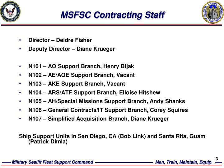 Msfsc contracting staff