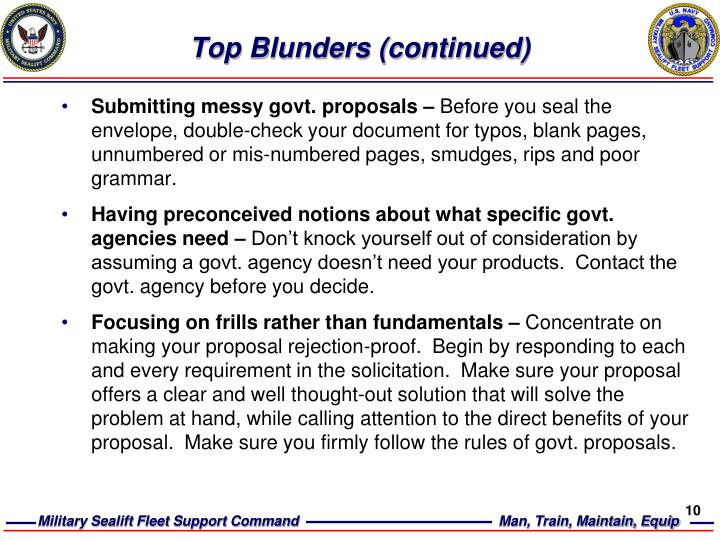 Top Blunders (continued)