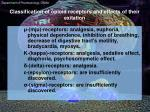 classification of opioid receptors and effects of their exitation