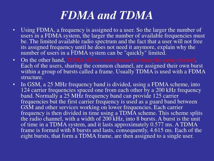 FDMA and TDMA