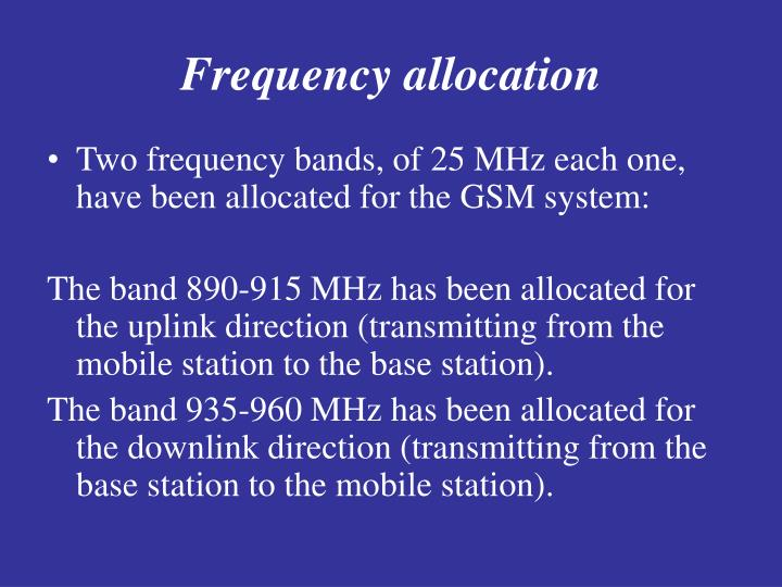 Frequency allocation