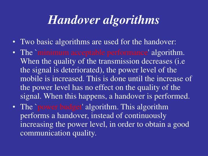 Handover algorithms