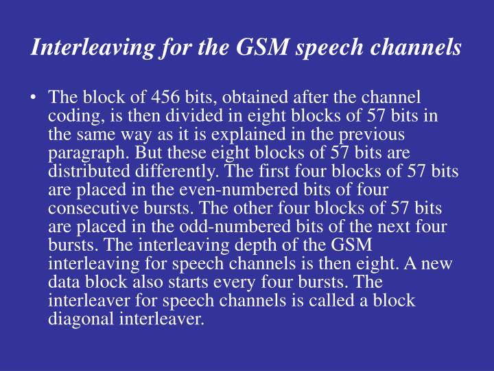Interleaving for the GSM speech channels