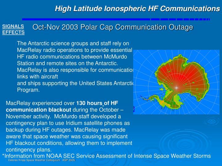 High Latitude Ionospheric HF Communications