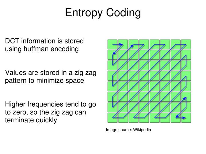 DCT information is stored using huffman encoding