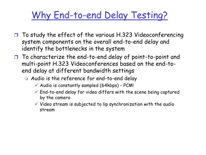 Why End-to-end Delay Testing?