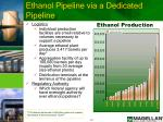 ethanol pipeline via a dedicated pipeline