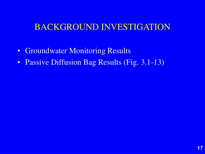 BACKGROUND INVESTIGATION