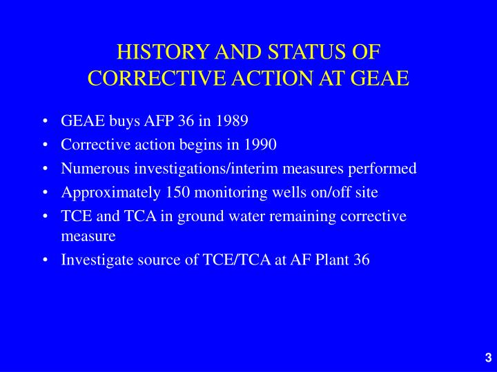 History and status of corrective action at geae