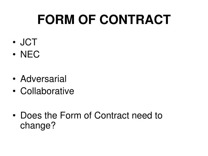 FORM OF CONTRACT