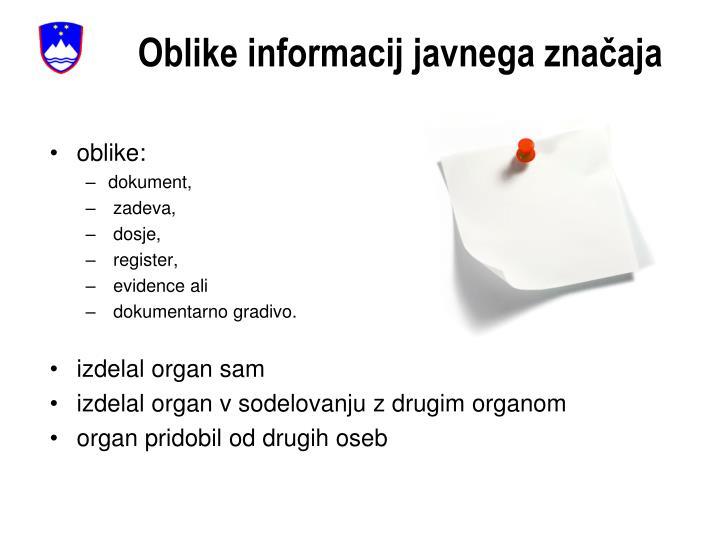 Oblike informacij javnega značaja