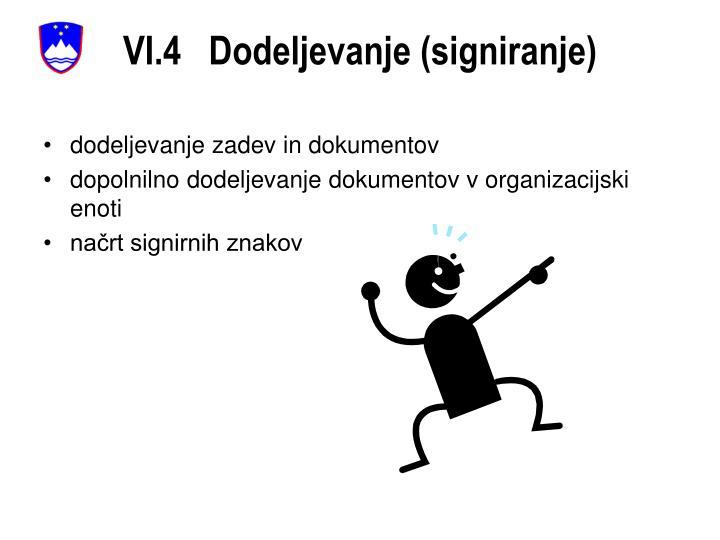 VI.4   Dodeljevanje (signiranje)