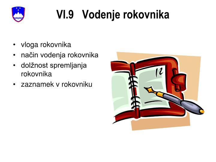 VI.9   Vodenje rokovnika