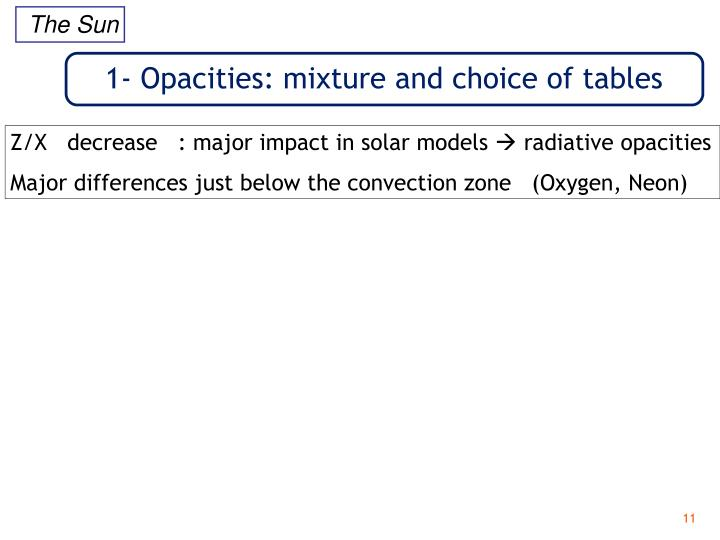1- Opacities: mixture and choice of tables