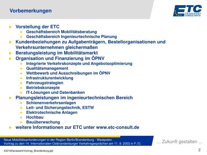 Vorstellung der ETC