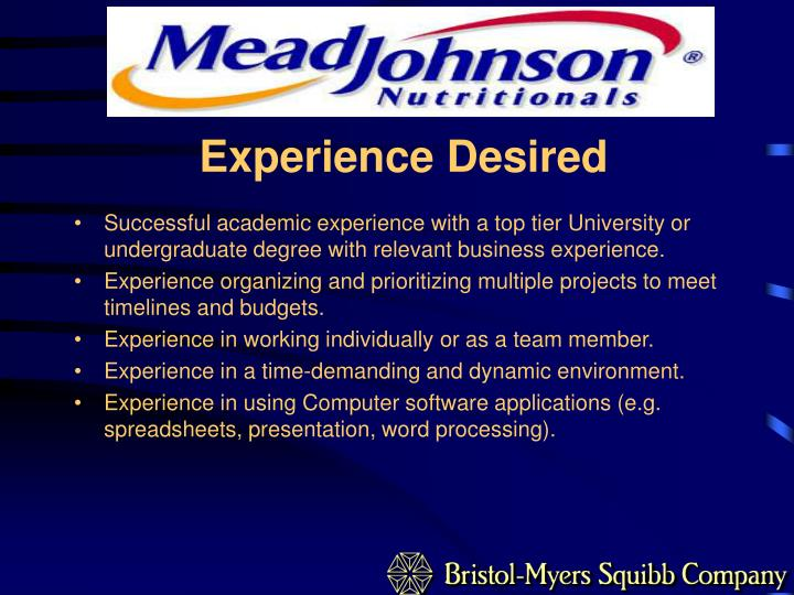 Experience Desired