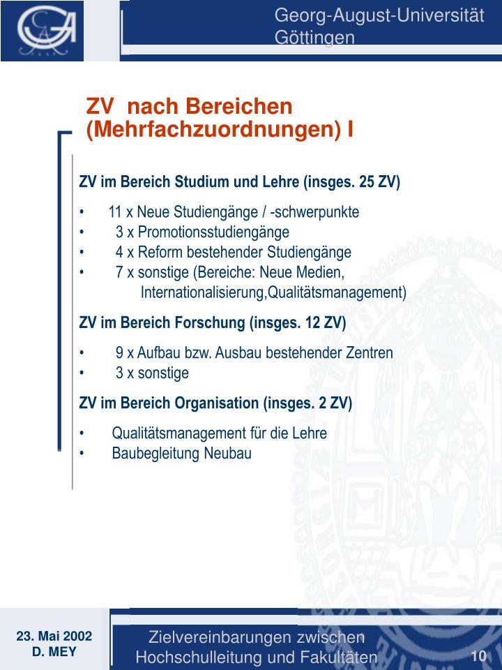 ZV  nach Bereichen (Mehrfachzuordnungen) I