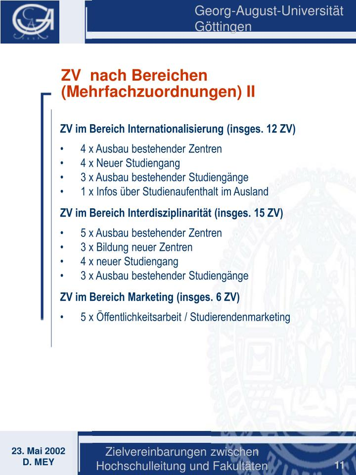 ZV  nach Bereichen (Mehrfachzuordnungen) II