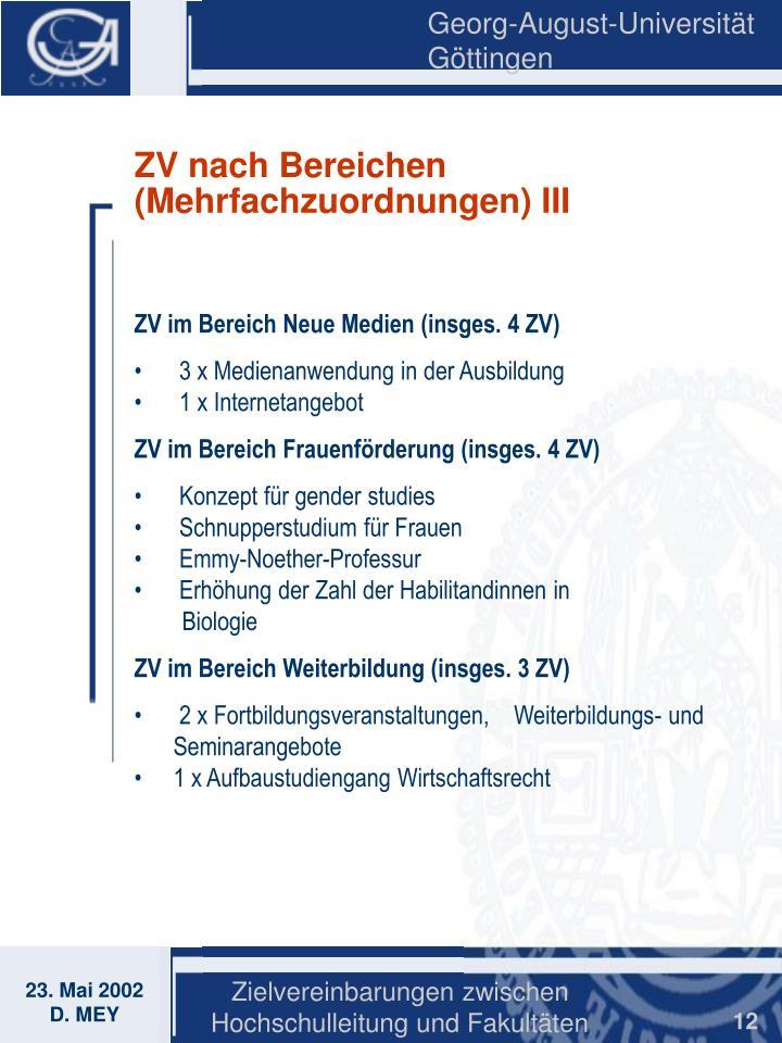 ZV nach Bereichen (Mehrfachzuordnungen) III