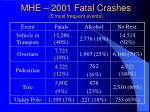 mhe 2001 fatal crashes 5 most frequent events