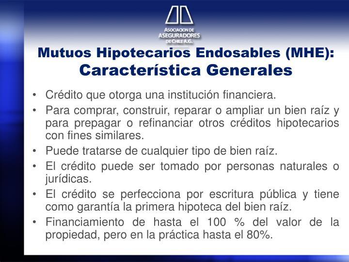 Mutuos Hipotecarios Endosables (MHE):